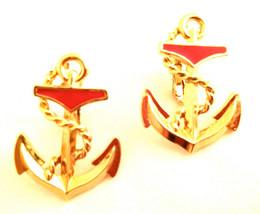 Whimsical Red Enameling GOLDEN Anchor Figural Clip on Earrings Novelty S... - $35.00