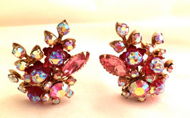 PINK Red Golden Clip on Earrings Floral 3D Design Runway Couture Luxury ... - $50.00