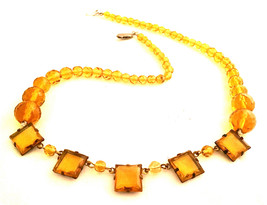 CZECH Vintage Jewelry yellow gemstones crystals Art Deco necklace Czecho... - $75.00