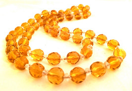 CZECH Vintage Jewelry 1930s Czechoslovakian crystal bead Yellow Amber Ne... - $65.00