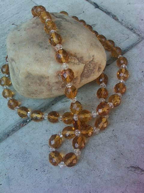 CZECH Vintage Jewelry 1930s Czechoslovakian crystal bead Yellow Amber Necklace