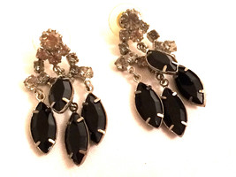 Jet Black Dangling Sparkling Faux Diamond Rhinestones Earrings Authentic... - $35.00