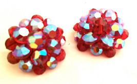 RED Crystals Aurora Borealis Metal Wired Sparkling Beads Bold Clip on Ea... - $35.00