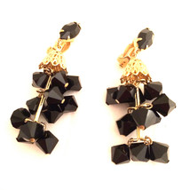 LEWIS SEGAL California Drop Sparkling French Jet Black Chandelier Clip E... - $45.00