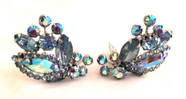 WEISS Blue Striking Aurora Borealis AB Crystals Clip on Earrings Sparkling - $50.00