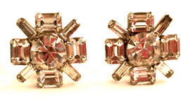 SPARKLING Faux Diamond Crystal Clear Clip on Earrings Authentic Vintage ... - $40.00