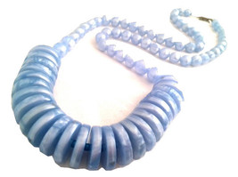 BLUE Celluloid Old Plastic Long Necklace Beaded Pearlized Metallic Old R... - $35.00