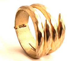 CLAW Faceted Golden Metal Cuff Hinged Bracelet Clamper Authentic Vintage... - $35.00