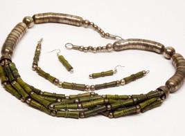 PARURE Necklace Bracelet Earrings SET Green Bamboo Silver Snake FAR East... - $100.00