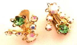 AUSTRIA 1950s Signed collectible clip on earrings Green Pink rhinestones... - $35.00