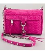 NWT Rebecca Minkoff MINI MAC Snake Embossed Leather Crossbody Bag Pink A... - $155.00