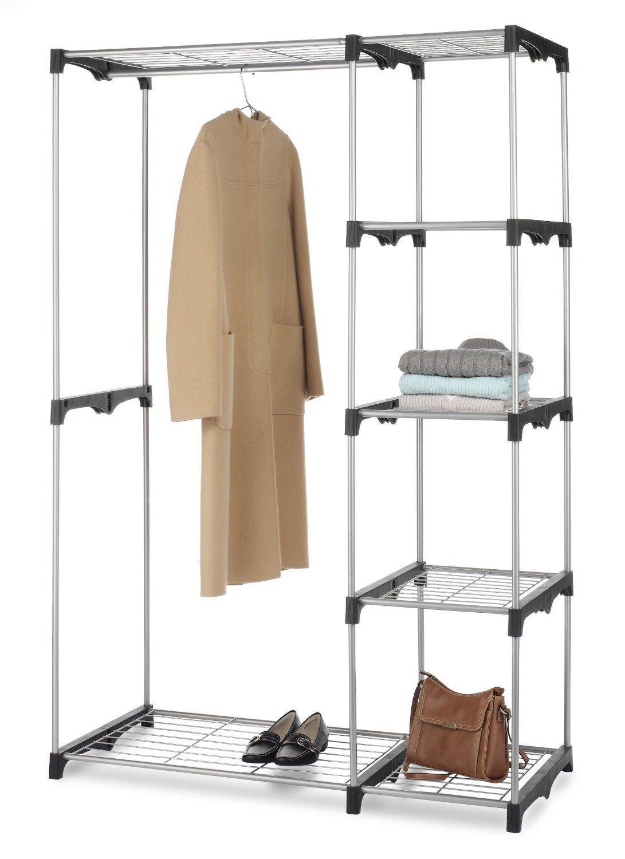 2 Tier Garment Rack Storage Closet W/ Shelves Clothes Hanger Laundry Rack Dryer