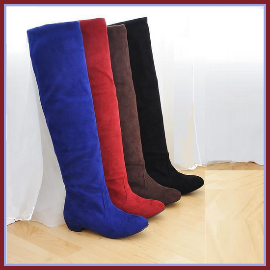 Turn Down Low Heel Knee High Faux Suede Leather Pointed Toe Boots in 4 Colors