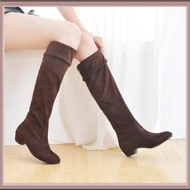 Turn Down Low Heel Knee High Faux Suede Leather Pointed Toe Boots in 4 Colors image 3