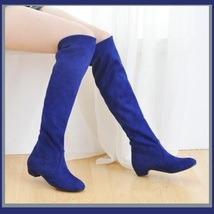Turn Down Low Heel Knee High Faux Suede Leather Pointed Toe Boots in 4 Colors image 4