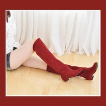 Turn Down Low Heel Knee High Faux Suede Leather Pointed Toe Boots in 4 Colors image 5