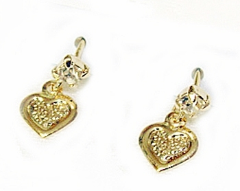 baby earrings with safety backs baby or toddler s 18k skillus gold and cz stud 8384