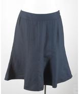 ANN TAYLOR LOFT 2 Black Skirt Fitted Flounce Knee Length Linen Blend Car... - $19.58