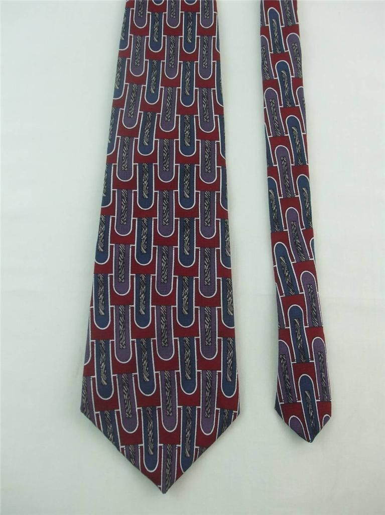 Primary image for Oscar de la Renta Mens Necktie Maroon Purple Blue Color w Geometric Design