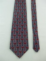 Oscar de la Renta Mens Necktie Maroon Purple Blue Color w Geometric Design - $9.99