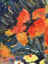 "NEW 'Four Van Gogh Flowers' 8""x10"" oil painting... - $18.70"