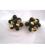 Trifari black bead gold tone round clip earrings MINT signed - $39.59