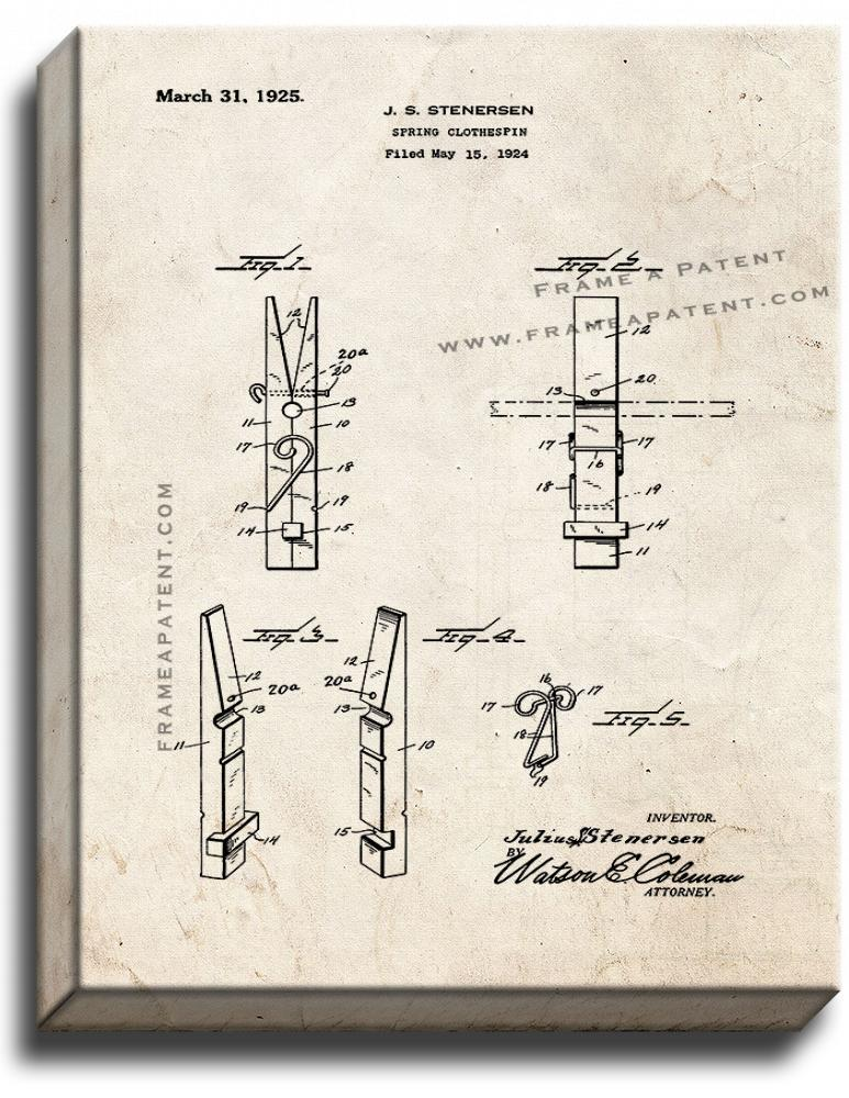 Primary image for Spring Clothespin Patent Print Old Look on Canvas
