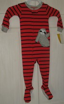 NWT Carter's 12M Red with Blue Stripes Gray Sloth & Trim Footed Pajamas PJ's - $18.81