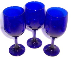 An item in the Pottery & Glass category: (3) COBALT BLUE LIBBEY DINING GLASS GOBLETS HANDBLOWN