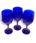 (3) COBALT BLUE LIBBEY DINING GLASS GOBLETS HANDBLOWN - $90.00