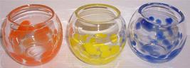 (3) Murano Style Yellow, Orange, & Blue Handblown Splatter Stone Glass D... - $172.15