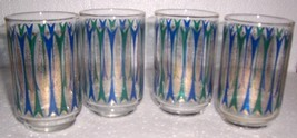 (4) VINTAGE LIBBEY'S BLUE & GOLD SPARKLE COLOR GLASSES - $69.76