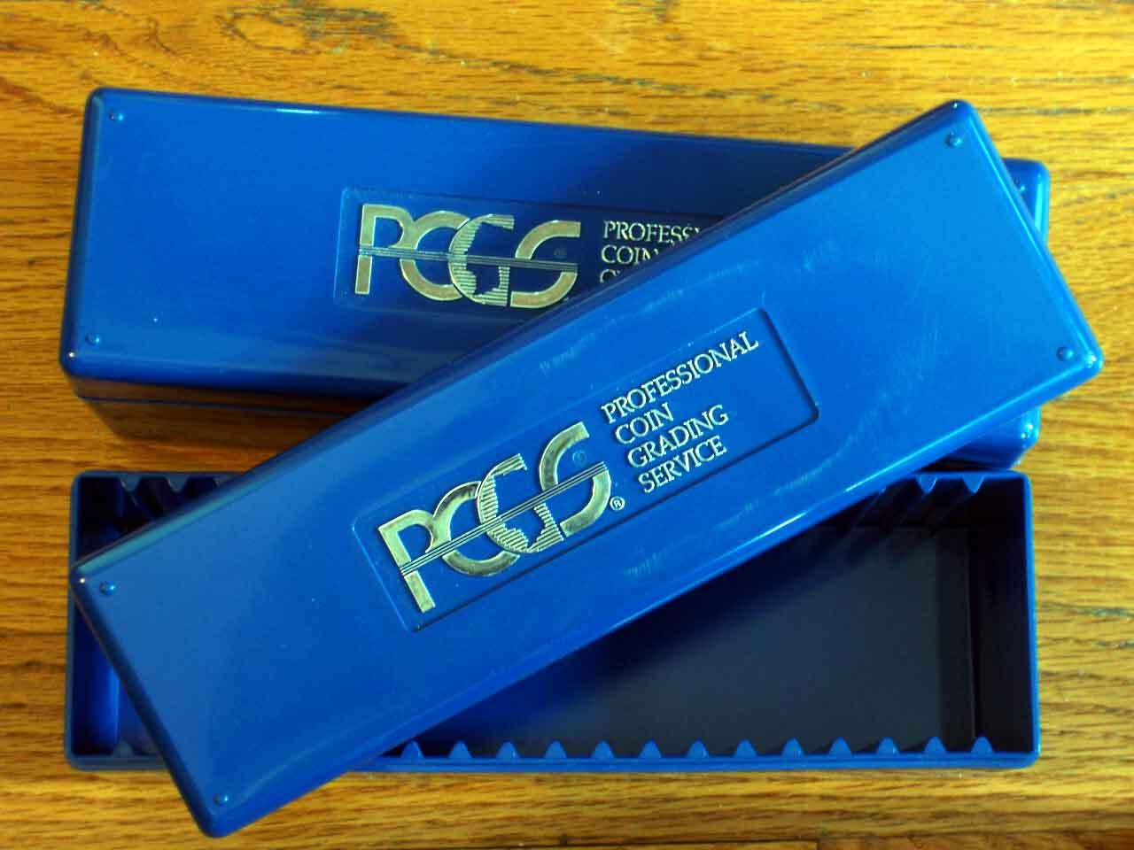 2 Lightly Used- PCGS - Blue Storage Boxes