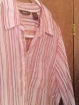 Eddie Bauer Womens Pink Blouse Shirt Top 100% Linen Sz L - $9.89