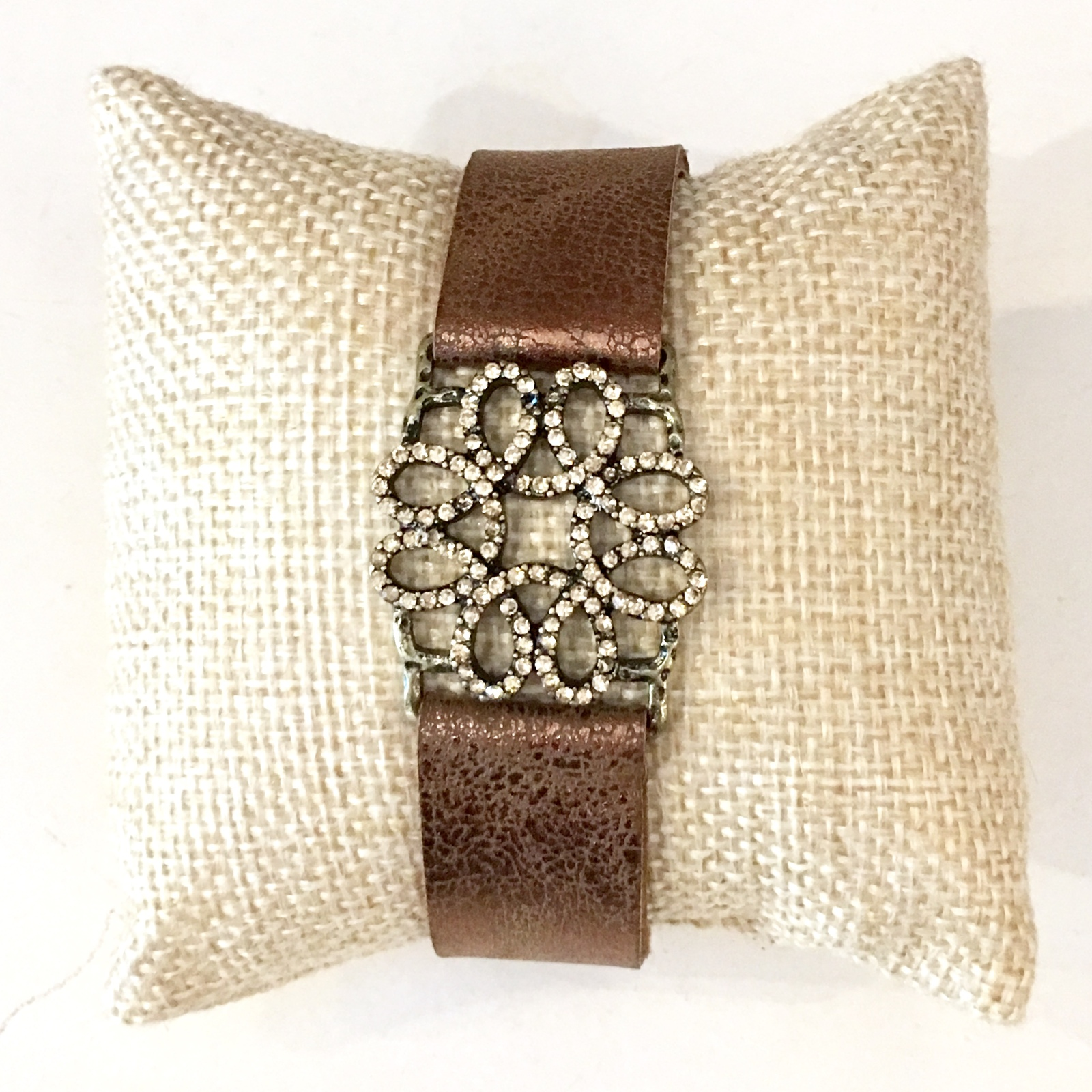 Brown Metallic Leather Bracelet, Adjustable Leather Bracelet, Colbert Clothing
