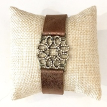 Brown Metallic Leather Bracelet, Adjustable Leather Bracelet, Colbert Clothing