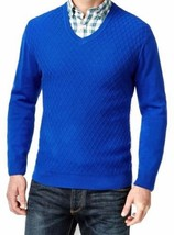 Club Room Men's Blue Diamond Print V-neck Cotton Knit Pullover Sweater - £19.36 GBP