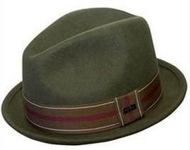 "NEW Conner Hats Men's CRUSHABLE WOOL Fedora Trilby Hat Olive 1.5"" Brim NWT - £26.64 GBP"