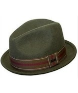 "NEW Conner Hats Men's CRUSHABLE WOOL Fedora Trilby Hat Olive 1.5"" Brim NWT - £25.58 GBP"