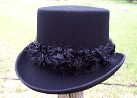 NEW Scala LADIES Elegant VICTORIAN Formal Dress Top Hat w/Custom Flower ... - $81.42 CAD