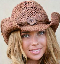 NEW Conner Hats Women's Western Maize Straw Shapeable Cowboy Hat Clay F5001 - €41,76 EUR