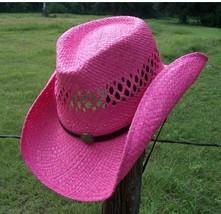 New SEXY PINK Women's Raffia Shapeable Beach Straw Ladies Western Cowboy... - $657,94 MXN
