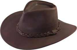 NEW USA MADE Henschel AUSTRALIAN Brown Leather Western Cowboy Hat + size... - $75.95+