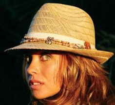NEW Conner Hats Ladies Removable NECKLACE Fedora Rush Straw Dress Hat NWT - €39,20 EUR