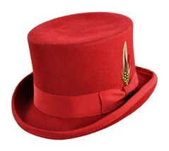 "NEW QUALITY JAXON 100% Red Wool SATIN Lined Tuxedo 5"" Mid Crown Top Hat NWT - €70,77 EUR"