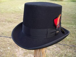 New QUALITY Scala Black Wool Victorian Topper Formal Tuxedo TOP HAT Pick... - $54.95