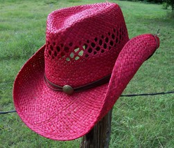 SALE New SEXY RED HOT Raffia Shapable Straw Western Cowboy Hat Chin Strap - €21,86 EUR