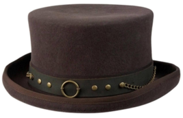 NEW Conner MAD HATTER Australian Wool Satin Lined STEAMPUNK Top Hat Brow... - €76,97 EUR