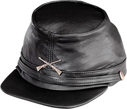 NEW Henschel Hats CIVIL WAR CRUSHABLE LEATHER Military Hat Black QUALITY... - $65.95
