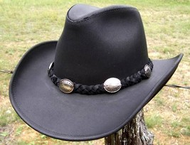 USA MADE Henschel Hat DUDE Cowhide Black Leather Western Cowboy Hat + si... - $79.95+